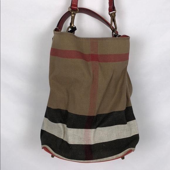aef44811427 Burberry Handbags - Burberry Canvas Check Medium Susanna Hobo Bucket